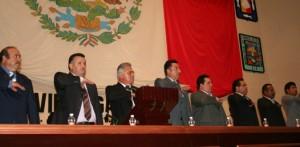 El presidente municipal, Joel Villegas Ibarra, al rendir su segundo informe de Gobierno.