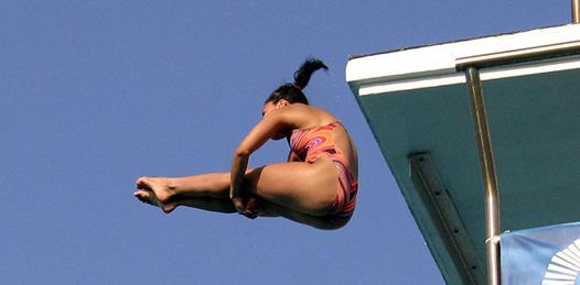 Karla Rivas González encabeza al equipo de clavados de BCS en la Olimpiada Nacional 2010.