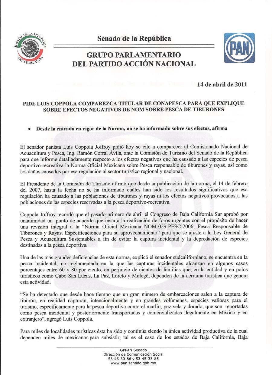 PIDE LUIS COPPOLA COMPAREZCA TITULAR DE CONAPESCA PARA QUE EXPLIQUE EFECTOS NEGATIVOS DE NOM SOBRE PESCA DE TIBURONES
