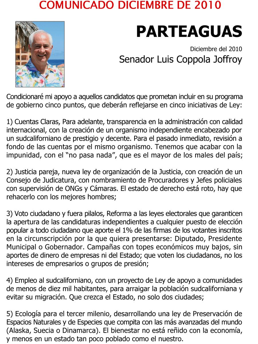 Comunicado Senador Coppola (diciembre de 2010)