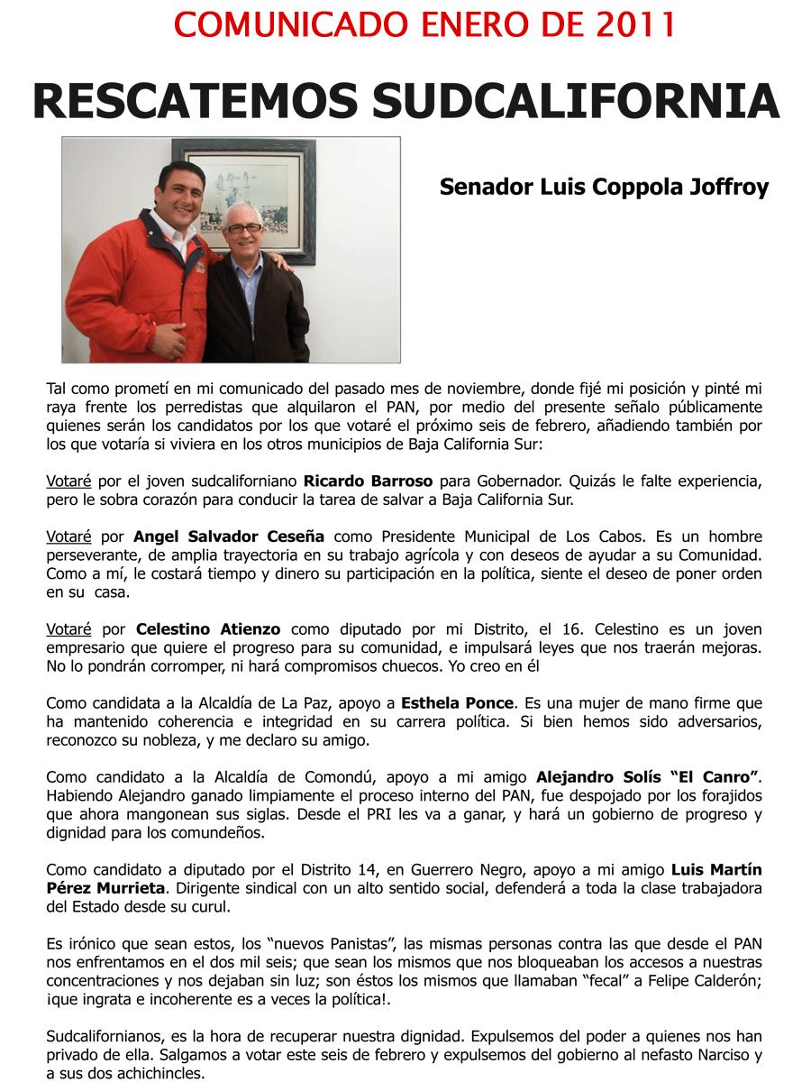 Comunicado del Senador Luis Coppola (enero de 2011)
