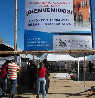 """El Departamento Académico de Zootecnia de la UABCS inauguró la """"Expo-Zootecnia 2011 de la oferta educativa"""", en la posta zootécnica del campus La Paz, el día 23 de marzo. La expo continuará los días 24 y 25 de marzo, en un horario de 9:00 a 18:00 horas."""