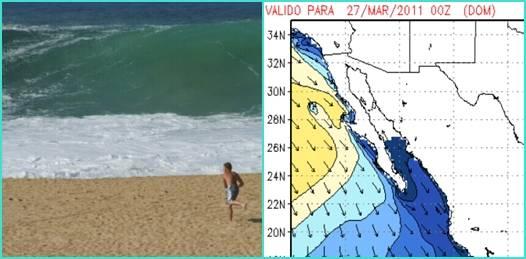 Se indica que dicha condición marítima generará durante las próximas 48 horas un posible incremento de oleaje de hasta 3.5 metros en la costa occidental de la Península afectando las costas de Colima, Michoacán y Guerrero.