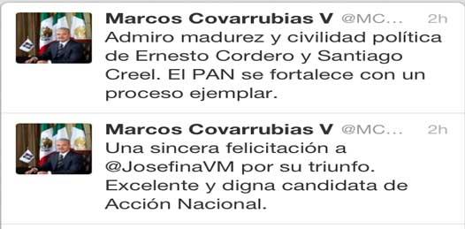 Reactiva MCV su cuenta de Twitter y felicita a Vázquez Mota