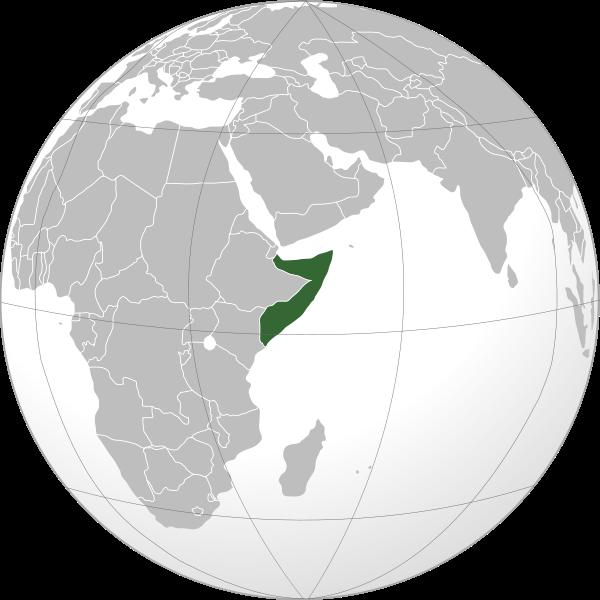 Ubicación de Somalia en globo terráqueo