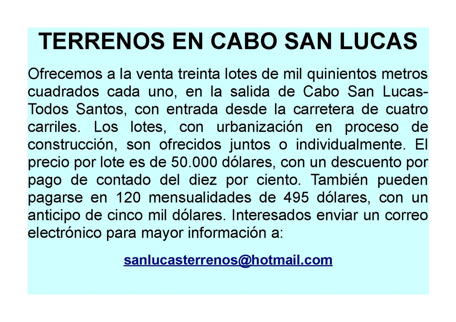 Lotes Todos Santos – Anuncio