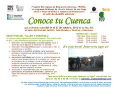 """Ofrecen taller gratuito """"Conoce tu cuenca"""""""