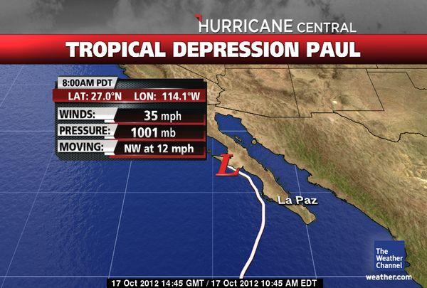 "Huracán ""Paul"" se convierte en tormenta"