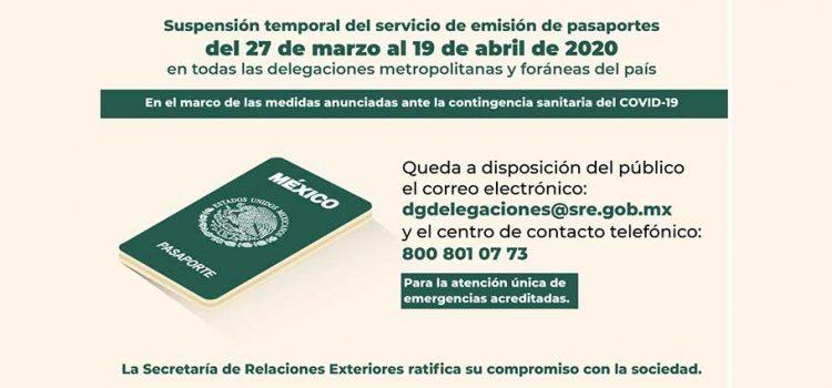 Suspenden la emisión de pasaportes