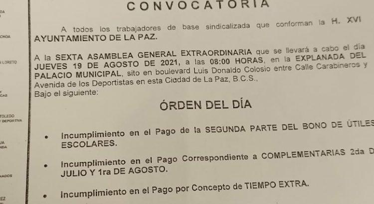 Convoca Sindicato de Burócratas a Asamblea general