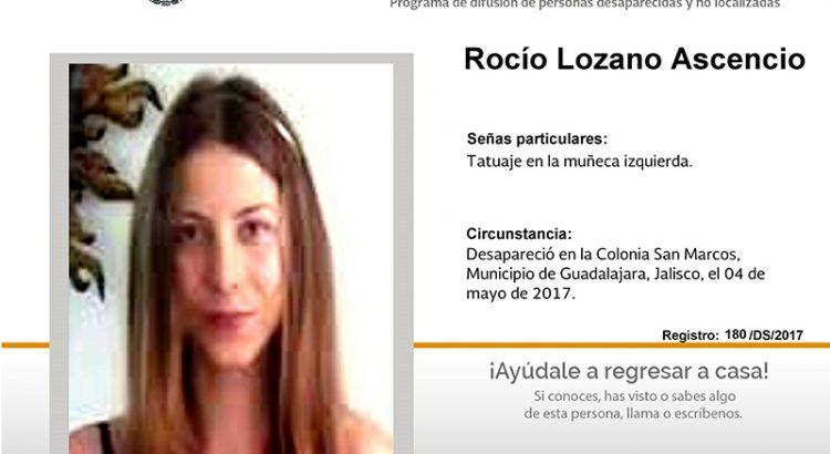 ¿Has visto a Rocío Lozano Ascencio?